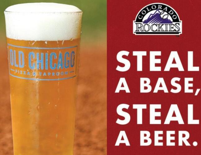 老芝加哥披萨和Taproom赞助科罗拉多洛矶山脉偷基地啤酒促销活动
